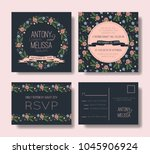 floral wedding invitation set.... | Shutterstock .eps vector #1045906924