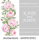 wedding cards floral design.... | Shutterstock .eps vector #1045913551