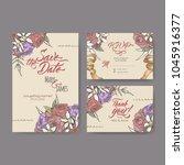 set of three original wedding... | Shutterstock .eps vector #1045916377