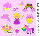 fashion patch badges with...   Shutterstock .eps vector #1045921471