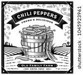 retro chili pepper harvest... | Shutterstock . vector #1045923961