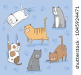 a set of cute quirky cats.... | Shutterstock .eps vector #1045924471