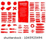 painted grunge stripes set. red ... | Shutterstock .eps vector #1045925494