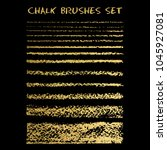 set of gold chalk brushes.... | Shutterstock .eps vector #1045927081