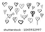 Set Of Hand Drawn Brush Hearts...