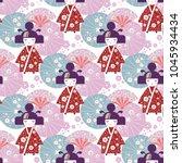 Seamless Pattern Japanese Girl  ...