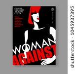 woman magazine cover. abstract... | Shutterstock .eps vector #1045937395