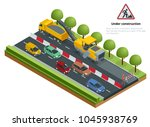 isometric traffic on the road ... | Shutterstock .eps vector #1045938769