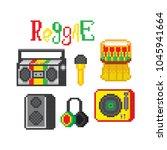 reggae music icon set. pixel... | Shutterstock .eps vector #1045941664