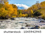 autumn wild forest river... | Shutterstock . vector #1045942945