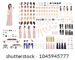 elegant woman dressed evening... | Shutterstock .eps vector #1045945777