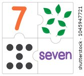 the jigsaw puzzle number 7 | Shutterstock .eps vector #1045947721