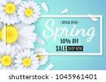 spring sale banner. white... | Shutterstock .eps vector #1045961401