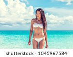 sexy asian beach model woman... | Shutterstock . vector #1045967584