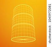 metal barrel wireframe low poly ... | Shutterstock .eps vector #1045972081