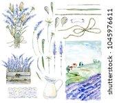 set of hand drawn watercolor... | Shutterstock . vector #1045976611