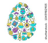 easter holiday egg shaped... | Shutterstock .eps vector #1045982905
