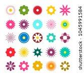flat design flowers icons....   Shutterstock .eps vector #1045991584