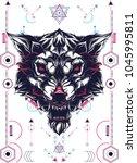 white wolf sacred geometry   Shutterstock .eps vector #1045995811