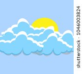 cartoon white clouds with sun... | Shutterstock .eps vector #1046003824