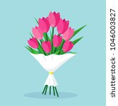 bouquet of red tulip  bunch of... | Shutterstock .eps vector #1046003827