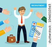 hands hold cv profile. success... | Shutterstock .eps vector #1046010565