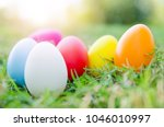 Easter Eggs In Grass Against...