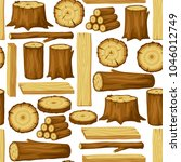 seamless pattern with wood logs ... | Shutterstock .eps vector #1046012749