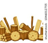 seamless pattern with wood logs ... | Shutterstock .eps vector #1046012755