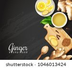 ginger roots  cutting board... | Shutterstock .eps vector #1046013424