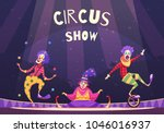 circus show with clowns on... | Shutterstock .eps vector #1046016937