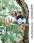 two teenager people on branch | Shutterstock . vector #104601899