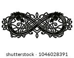 celtic two headed dragon with... | Shutterstock .eps vector #1046028391