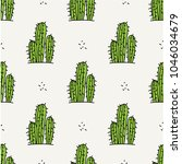 seamless pattern with cactus in ... | Shutterstock .eps vector #1046034679