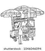 hot dog street cart in new york ... | Shutterstock .eps vector #1046046094