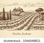 vineyard seamless landscape.... | Shutterstock .eps vector #1046048821
