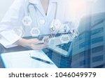 double exposure healthcare of... | Shutterstock . vector #1046049979
