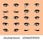 cartoon female eyes. colored... | Shutterstock .eps vector #1046059045