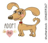 cute dog with adopt me text.... | Shutterstock .eps vector #1046059267