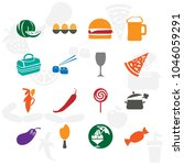 foods icon set with hamburger   ... | Shutterstock .eps vector #1046059291