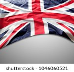 union jack flag on grey... | Shutterstock . vector #1046060521