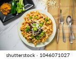 fancy taco macaroni and cheese... | Shutterstock . vector #1046071027