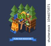 isometric hiking banner with... | Shutterstock .eps vector #1046073571