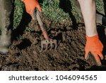 farmer prepares land for... | Shutterstock . vector #1046094565