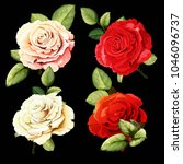 flowers. set of four buds.... | Shutterstock .eps vector #1046096737