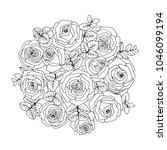 flower  bouquet. vector... | Shutterstock .eps vector #1046099194