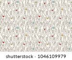 funny bunny seamless pattern.... | Shutterstock .eps vector #1046109979