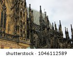 roof line with buttresses on... | Shutterstock . vector #1046112589