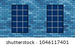 brick wall and metal grating... | Shutterstock .eps vector #1046117401