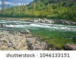 river rapids in the polar urals....   Shutterstock . vector #1046133151